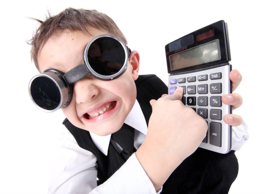 kid with calculator