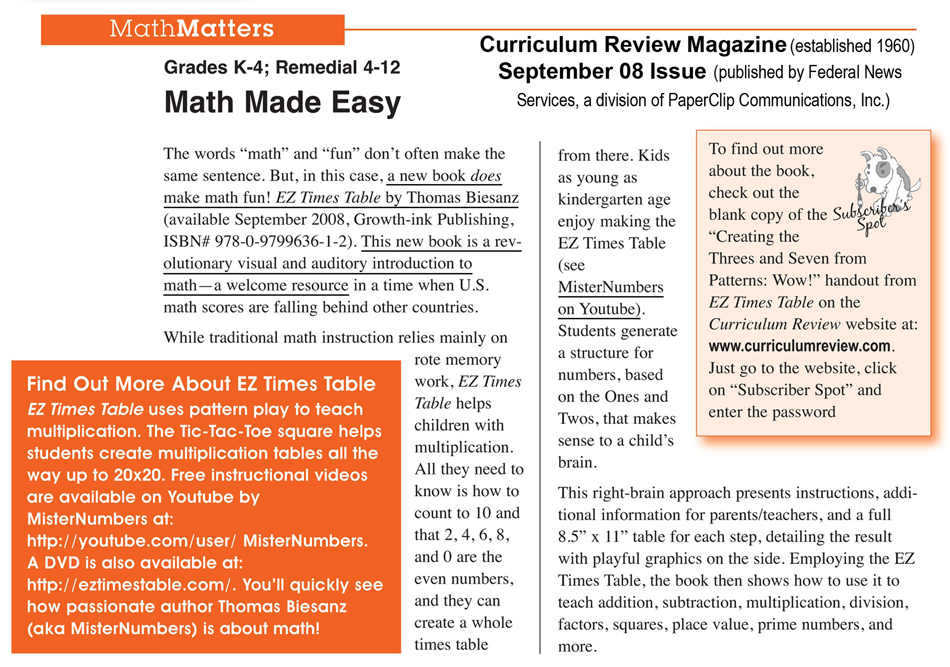 Curriculum Review magazine article Sept 2008